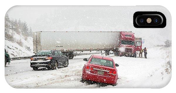 Jacknifed Truck Blocking Highway IPhone Case