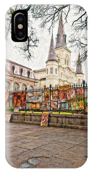 Steve Harrington iPhone Case - Jackson Square Winter Impasto by Steve Harrington