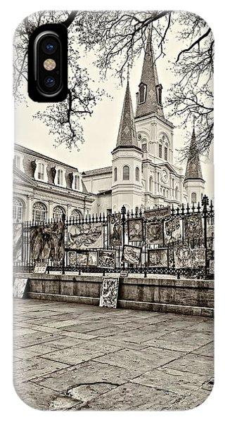 Steve Harrington iPhone Case - Jackson Square Winter Sepia by Steve Harrington