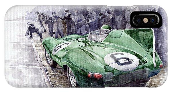 Automotive iPhone Case - Jaguar D-type  1955 Le Mans  by Yuriy Shevchuk