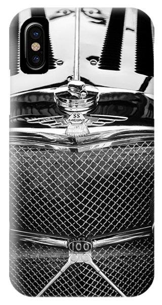 100 iPhone Case - Jaguar Ss 100 Grille Emblem -0544bw by Jill Reger