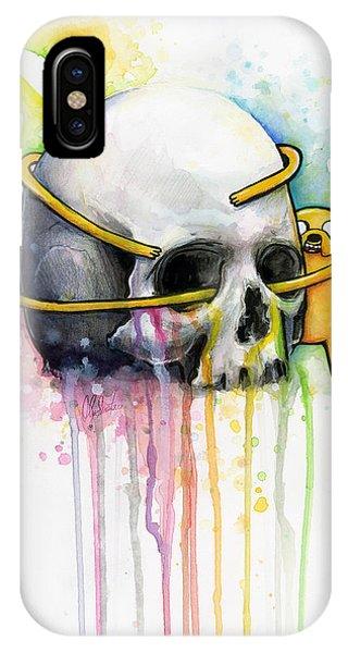 Skull iPhone Case - Jake The Dog Hugging Skull Adventure Time Art by Olga Shvartsur