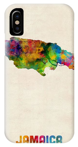Print iPhone Case - Jamaica Watercolor Map by Michael Tompsett