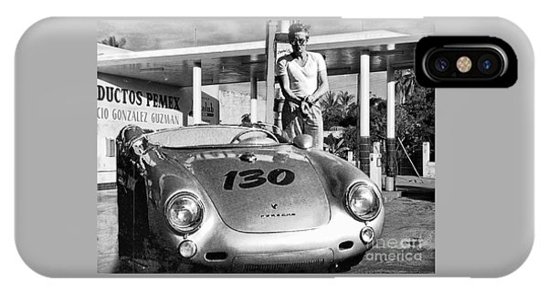 James Dean Filling His Spyder With Gas Black And White IPhone Case