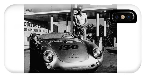 James Dean Filling His Spyder With Gas In Black And White IPhone Case