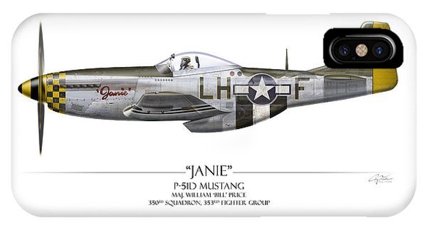 Janie P-51d Mustang - White Background IPhone Case