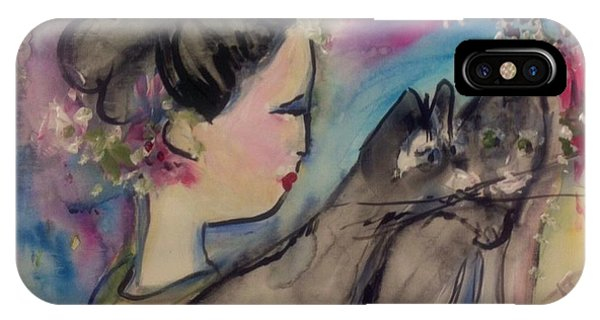 Japanese Lady And Felines IPhone Case