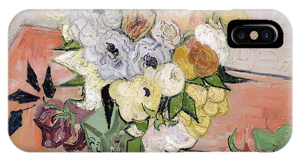 Beauty In Nature iPhone Case - Japanese Vase With Roses And Anemones by Vincent van Gogh