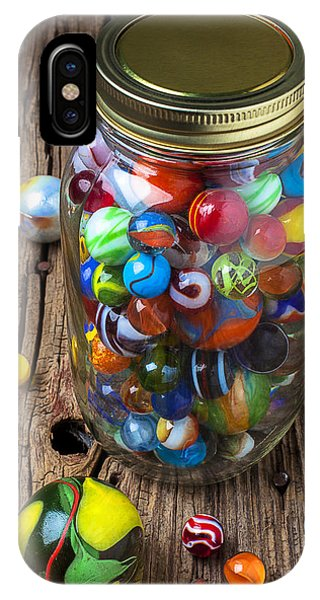 Novelty iPhone Case - Jar Of Marbles With Shooter by Garry Gay