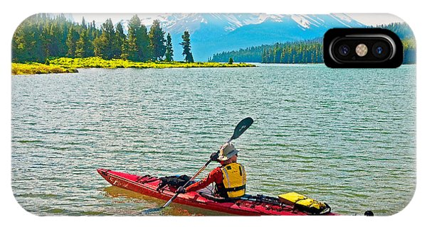 Jasper Park Kayaker Phone Case by Dennis Cox