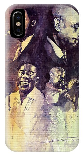 Portret iPhone Case - Jazz Legends Parker Gillespie Armstrong  by Yuriy Shevchuk
