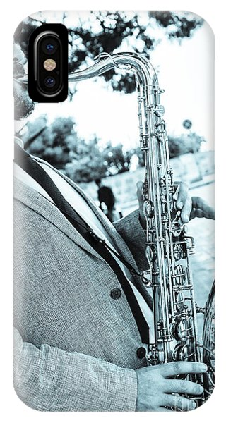 Jazz Musician Busker Playing Saxophone IPhone Case