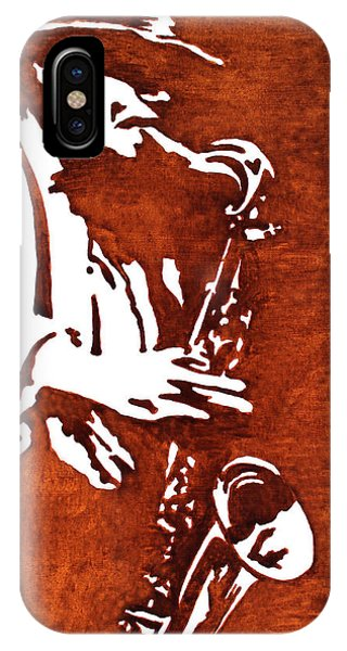 Jazz Saxofon Player Coffee Painting IPhone Case