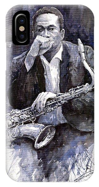 Jazz iPhone Case - Jazz Saxophonist John Coltrane Black by Yuriy Shevchuk