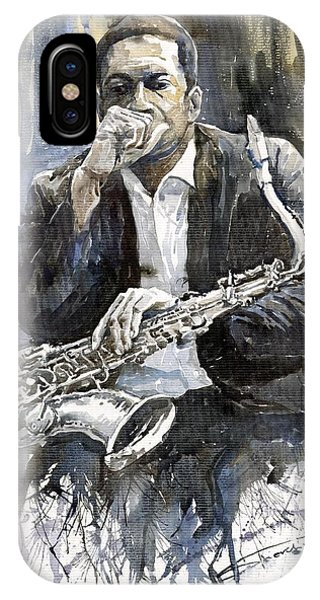 Jazz iPhone Case - Jazz Saxophonist John Coltrane Yellow by Yuriy Shevchuk