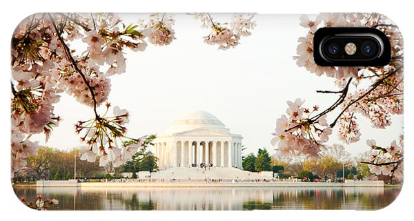 Jefferson Memorial With Reflection And Cherry Blossoms IPhone Case