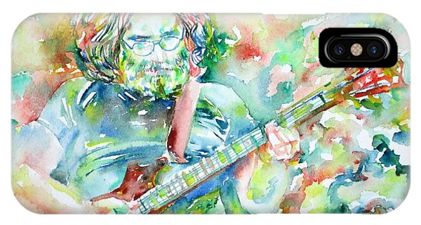 Jerry Garcia Playing The Guitar Watercolor Portrait.3 IPhone Case