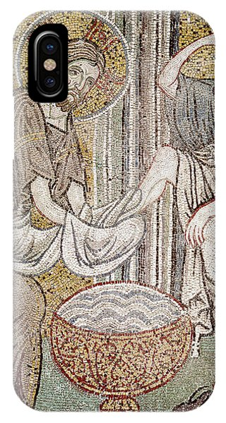 New Testament iPhone Case - Jesus And Saint Peter, Detail From Jesus Washing The Feet Of The Apostle Mosaic by Byzantine School