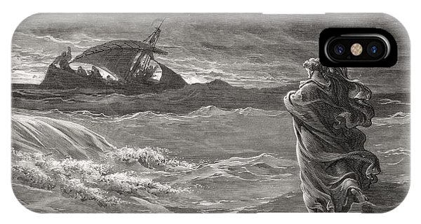 Life Of Christ iPhone Case - Jesus Walking On The Sea John 6 19 21 by Gustave Dore