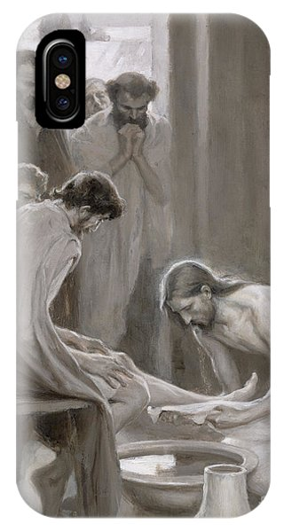 Christianity iPhone Case - Jesus Washing The Feet Of His Disciples by Albert Gustaf Aristides Edelfelt