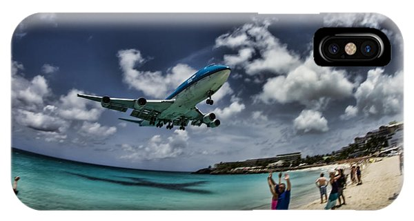 Jet Landing Over Maho Beach IPhone Case