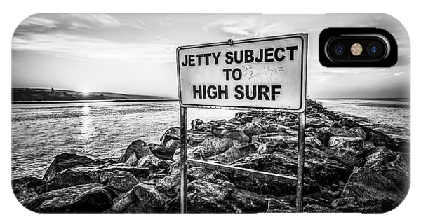 Jetty Subject To High Surf Sign Black And White Picture IPhone Case