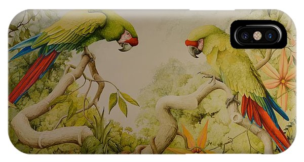 Jewels Of The Rain Forest  Military Macaws IPhone Case