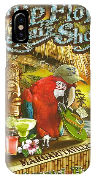 Lime iPhone Case - Jimmy Buffett's Flip Flop Repair Shop by Desiderata Gallery