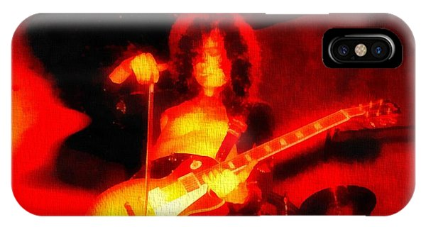 Rock And Roll Jimmy Page iPhone Case - Jimmy Page On Fire by Dan Sproul