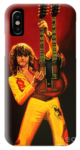 Physical iPhone Case - Jimmy Page Painting by Paul Meijering