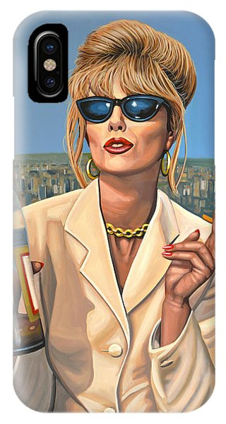 Stone Wall iPhone Case - Joanna Lumley As Patsy Stone by Paul Meijering