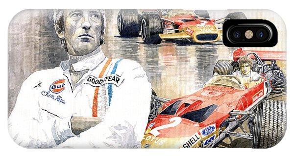 Portret iPhone Case - Jochen Rindt Golden Leaf Team Lotus Lotus 49b Lotus 49c by Yuriy Shevchuk