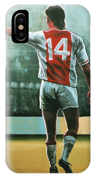 Soccer iPhone Case - Johan Cruijff Nr 14 Painting by Paul Meijering