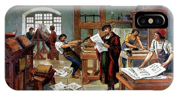 iPhone Case - Johann Gutenberg's Printing Press by Cci Archives/science Photo Library