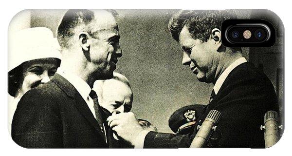 John F Kennedy With Astronaut Alan B Shepard Jr IPhone Case