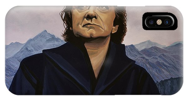 Rock And Roll Art iPhone Case - Johnny Cash Painting by Paul Meijering