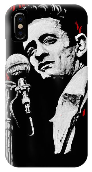 Johnny Cash iPhone Case - Johnny Cash Ring Of Fire by Melissa O'Brien