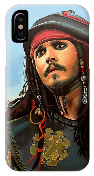 No People iPhone Case - Johnny Depp As Jack Sparrow by Paul Meijering