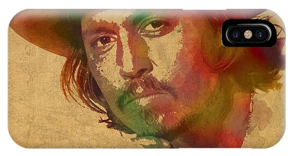 Johnny Depp Watercolor Portrait On Worn Distressed Canvas IPhone Case