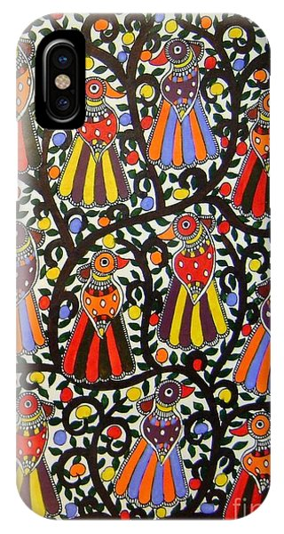 Joint Family Of Birds-madhubani Painting IPhone Case