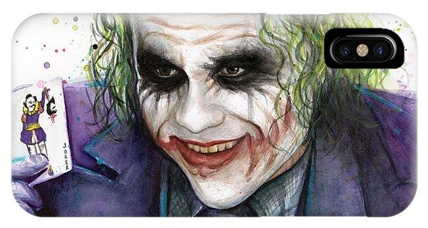 Bat iPhone Case - Joker Watercolor Portrait by Olga Shvartsur
