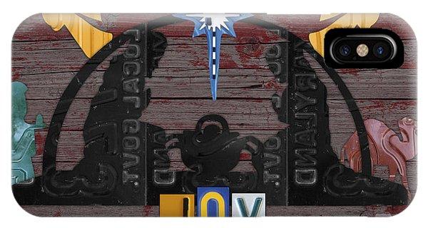 Joy Nativity Scene Recycled License Plate Art IPhone Case