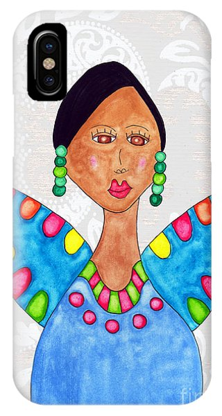 Lupita iPhone Case - Juanita In A Blue Dress 2 by Emily Lupita Studio