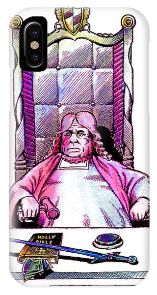 Pen And Ink Drawings For Sale iPhone Case - Judge And The Bible by Magdalena Walulik