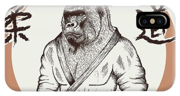 T Shirts iPhone Case - Judoka Gorilla Dressed In Kimono. Hand by Dimonika