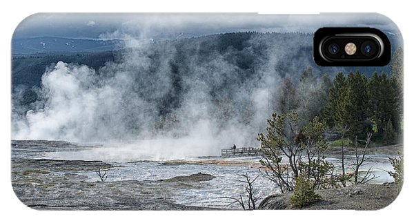 Mammoth Hot Springs iPhone Case - Just Before The Storm - Mammoth Hot Springs by Sandra Bronstein
