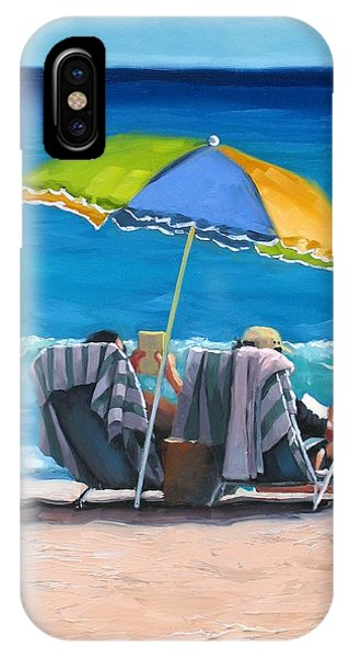 Beach Chair iPhone Case - Just Leave A Message Iv by Laura Lee Zanghetti