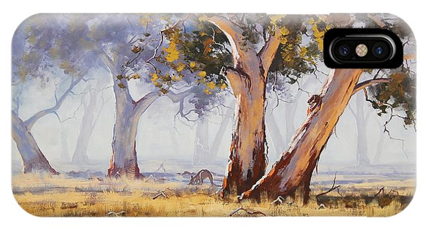 Impressionism iPhone X Case - Kangaroo Grazing by Graham Gercken