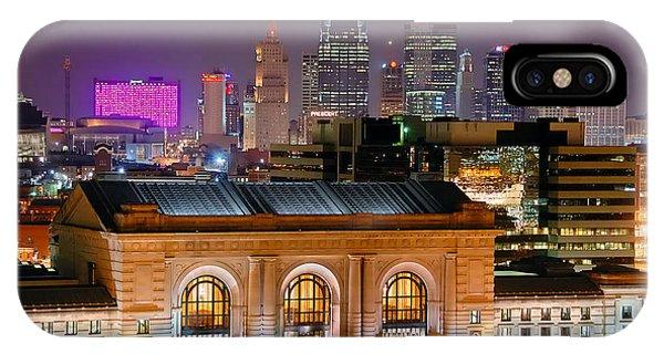 Kansas City Skyline At Night Kc Downtown Color Panorama IPhone Case