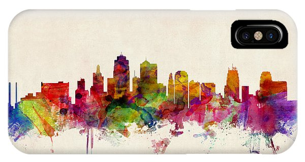 Watercolour iPhone Case - Kansas City Skyline by Michael Tompsett